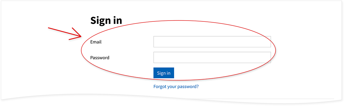 Log in using your email and password: