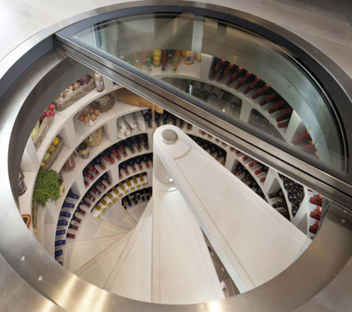 Helical wine cellar