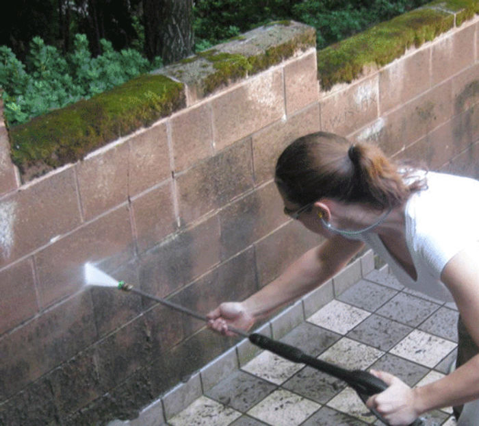 Spraying-moss-off-wall